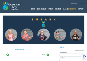 Screenshot of Embark podcast website